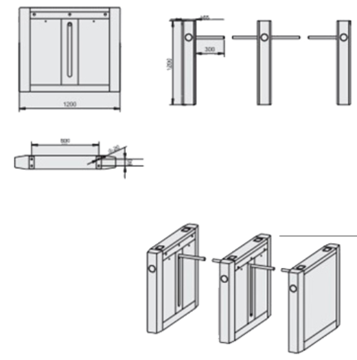 ID Card Outdoor Dual Way 180 Angle Barrier Arm Gates with 304# Stainless Steel Plate